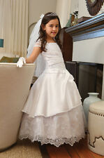 FIRST COMMUNION DRESS CHURCH CEREMONY YOUNG LADIES CHRISTENING GOWN LACE UP BACK