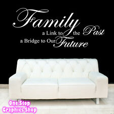 FAMILY PAST FUTURE WALL ART QUOTE STICKER -  LOUNGE BEDROOM KITCHEN LOVE DECAL