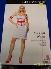 3 pc. On Call Nurse Doctor White Red Cute Leg Avenue Dress Up Sexy Adult Costume