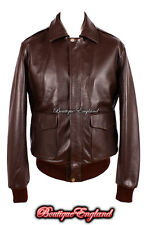'A2 US TOP GUN' Men's BROWN ANILINE Cowhide Leather Bomber Fighter Pilot Jacket