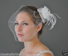 Bandeau 901 VEIL SET w/ OSTRICH Feather Fascinator & Ivory White Birdcage Veil