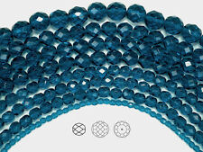 "Czech Fire Polished Round Faceted Beads in Dark Aqua 16"" strand, dark blue color"