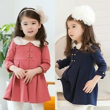 Kids Toddlers Girls Cute Lace Lapel Cute Buttons Thick Cotton Dress 3-8 Y D149