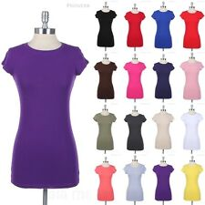 Basic Crew Neck Short Sleeve Tunic T Shirt Long Top Cotton Casual Plain Tee S-L