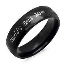 Personalized World's Best Mom Stainless Steel Black Ring - Free Engraving