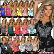 Sexy Women's Ladies Summer Stretchy Casual Top with Zip Size 8/10,10/12,12/14 UK