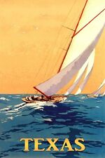 Texas Sailboat Boat Sport Travel Tourism Sailing Vintage Poster Repro FREE S/H