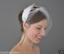 Classic 802 VEIL SET w/ PEARL Feather Fascinator & Ivory / White Birdcage Veil