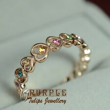 18K Rose Gold Plated Fashion Multi-colour Hearts Ring W/ SWAROVSKI Crystals