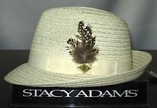 Stacy Adams Mens Natural Straw Fedora Pinch Front Dress Hat Hats