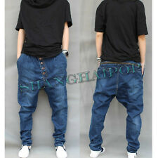 Mens Harem Baggy Pants Denim Zip Trousers Drop Crotch Tapered Jeans Casual Blue