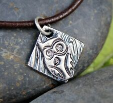 Charming Owl Necklace - Handmade fine silver owl charm on a brown leather cord