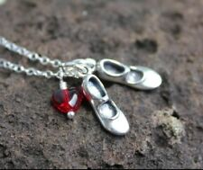 Love to Tap Dance Necklace -sterling silver dancing shoes charms,red glass heart