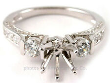 14K WHITE GOLD 3 STONE PAVE DIAMOND ENGAGEMENT RING SOLITAIRE SETTING