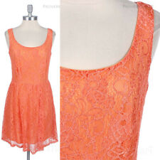 Full Floral Lace Scoop Neck Sleeveless Dress Deep Back Flare Bottom Lining Cute