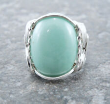 Sterling Silver Wire Wrapped Variscite Cabochon Ring