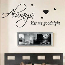 Always Kiss Me Goodnight Wall Quote Stickers Wall Decals Words Lettering