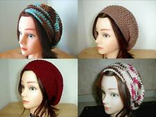 BROWN Burgundy BLUE Cream PINK HANDMADE Crochet SLOUCHY Beret HATs Knit UNISEX