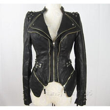 New Womens Punk Spike Studded Shoulder PU Leather Jacket Zipper coat Size S-XXL
