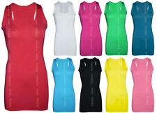 Womens Long Racer Back  Bodycon Muscle Vest Top