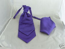 Dark Purple MENS Wedding Ruche Tie-Cravat and Hankie Set-More U Buy> More U Save