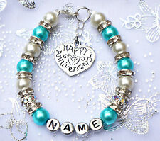 Personalised Ladies  Happy Anniversary Charm Bracelet Free Card & Bag 12 colours