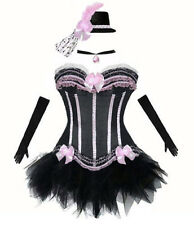 Burlesque  Black Pink Corset +TuTu +Choker +Hat Moulin Rouge Fancy Outfit Hen