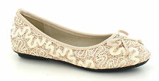 GIRLS CUTIE QT SLIP ON SHOES IN NUDE LACE & GLITTER WITH BOW H2248