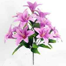 Artificial Satin Lilies - 12 Silk Lily Flower Heads - Ivory, Lilac, Pink, Yellow
