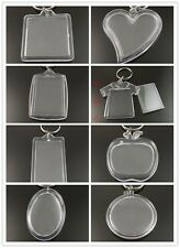 8pcs Blank Plastic Insert Photo Picture Image Frame Keyring Keychain Lucky