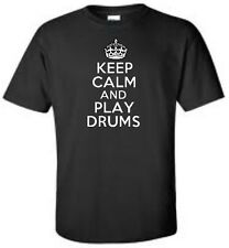 Keep Calm And Play Drums Mens T-Shirt Drummer Rock Music Band Tee More Colors