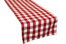LA Linen Polyester Gingham Checkered 14 by 108-Inch Table Runner. Made in USA