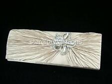 Satin Crinkle Wedding Evening Clutch Bag Sparkle Crystal Pin 3 Colors