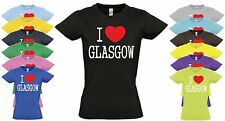 I Love Glasgow Ladies T Shirt. Choice of Colours. Scotland University Top
