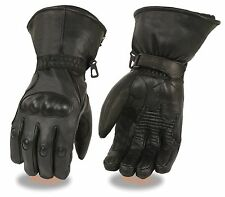 Mens Waterproof Leather Motorcycle Gauntlet Glove w/ Knuckle Guard