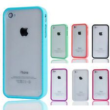 1Pcs TPU Bumper Frame Clear Hard Back PVC Case Cover Skin for iPhone 4 G 4Gs 4S