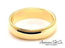 14K YELLOW GOLD 5mm MILGRAIN COMFORT FIT WEDDING BAND size 13 13.25 13.5 13.75