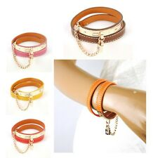 Women Genuine Leather Lock Chain Bracelet Cuff Wrap Bangle Wristband Fashion Arm