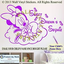 Minnie Mouse Personalised Kids Children Name Vinyl Wall Sticker Art Sweet Dreams