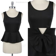 Sleeveless Peplum Open V Back Top with Ribbon Round Neck Solid Cute Stylish Span