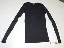NWT Womens George Scoop Neck Power Ribbed Sweater Black Soot