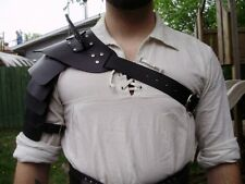 Gladiator hardened leather shoulder armor,spartacus, black version,  SCA LARP