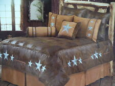 8pc NEW Western Rustic Decor Turquoise Triple Star Comforter Bedding Bedroom Set