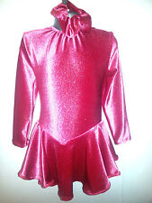 new girls coral with silver sparkle velour ice skating/twirling/leotard dress