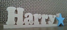 Name plaque. Any name. Solid Wood with wooden star. Boys Girls Gift PERSONALISED