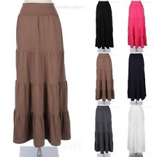 Fold-Over Waistband Solid Maxi Long Skirt Tiered Flared Casual Stylish Gorgeous