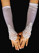 Women Nice Sexy Fingerless Wedding Evening Party Dress Lace Long Bridal Gloves 2