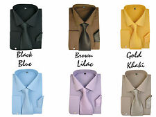 New Men's French Cuff Dress Shirt + Matching Tie +Handkerchief Spread Collar #27