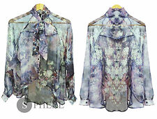 New Ladies Womens Watercolour Orient Floral Lose Fit Pussy Bow blouse S:10-16