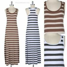 Womens Striped Racerback Tank Maxi Dress Sleeveless Scoop Neck Full Length